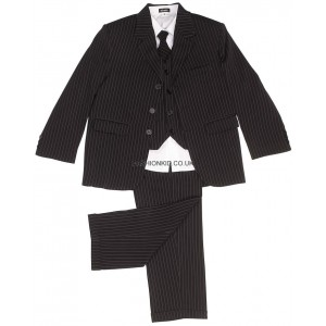 5 Piece Boys Pinstripe Suit (Black)