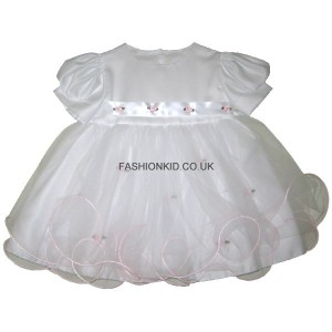 Princess White-Pink Baby Girls Dress