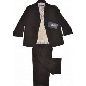 Boys 5 Piece Brown Pinstripe Suit