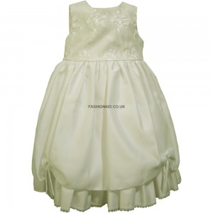 Flowery Formal Cream Party Girls Dress