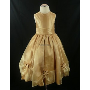 Bridesmaid Gold Girls Wedding Dress