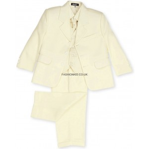 Boys 5 Piece Cream Suit