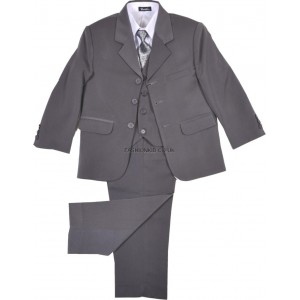 Boys 5 Piece Grey Suit