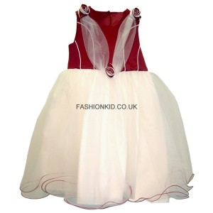 Bridesmaid Cream-Wine Wedding Girls Dress