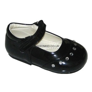Fairy Black Studded Toe Baby Girls Shoes