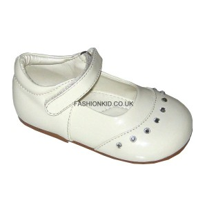 Fairy Cream Studded Toe Baby Girls Shoes