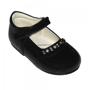 Diamond Black Baby Girls Shoes