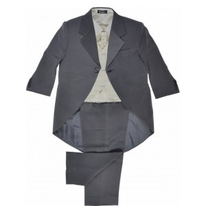 Boys 5 Piece Grey & Cream Combo Tail Coat Suit