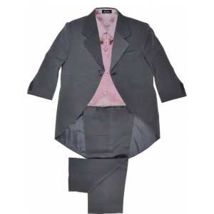 Boys 5 Piece Grey & Pink Combo Tail Coat Suit