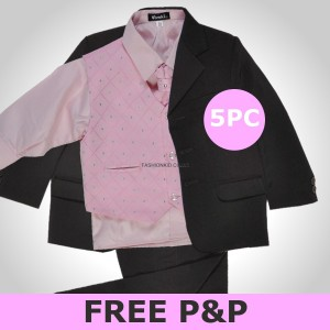 5 Piece Pink Black Christening Page Boys Wedding Suit