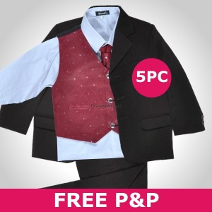 5 pc Wine Black Christening Formal Wedding Boys Suit
