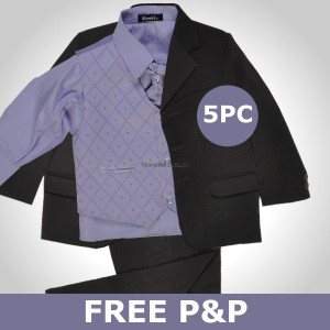 5piece Lilac Black Christening Wedding Formal Boys Suit