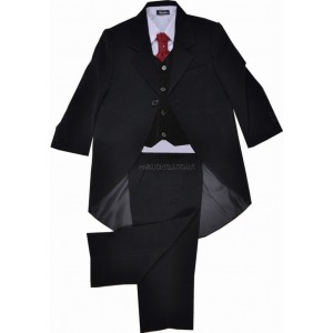 5 Piece Black Tail Coat Suit