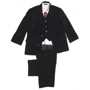 Boys 5 Piece Classic Black Suit
