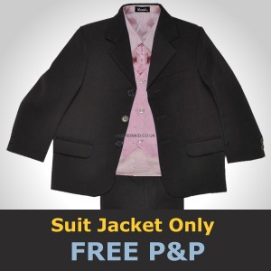 Black Quality Suit Jacket Coat  for School Christening Page Boys Wedding