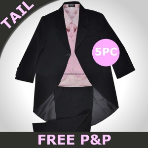 Boys 5 Piece Black & Pink Royal Tail Coat Suits
