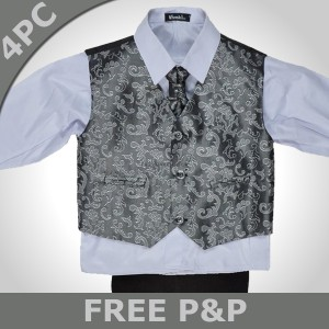 Boys 4 Piece Silver Paisley Black Suit