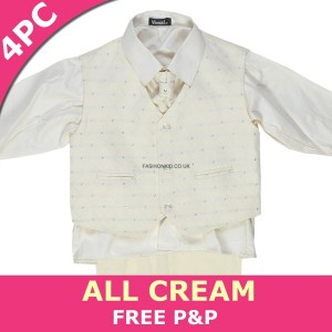 Boys 4 Piece All Cream Suit