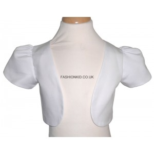 Girl Bolero Top - Short Sleeve White