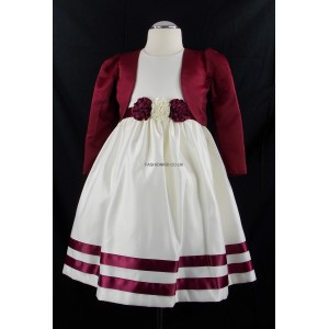 Girls Corsage Cream-Red Bolero Jacket Dress