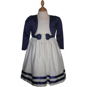Girls Corsage Cream-Blue Bolero Jacket Dress
