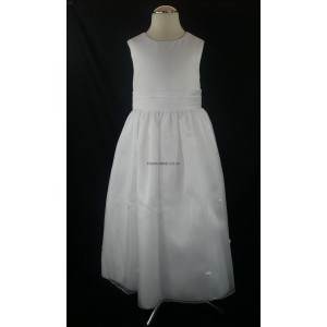 Plain Rosebud White Party Girls Dress