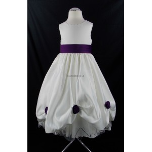 Girls Superior Bridesmaid Party Dress in Cream-Cadbury Purple