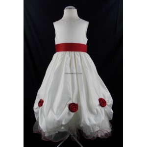 Girls Superior Bridesmaid Party Dress in Cream-Red
