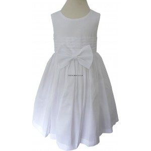 Pretty White Bow Waist Girls Dress