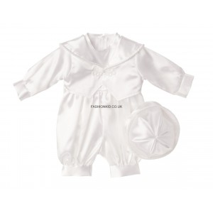 Boys Plain White Christening Romper Suit