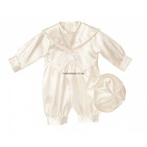 Boys Plain Ivory (Cream) Christening Romper Suit
