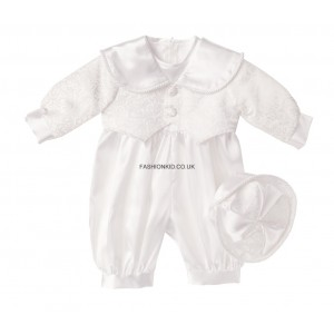 Boys Patterned White Christening Romper Suit