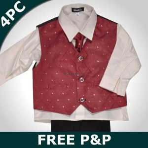 Boys 4 Piece Wine & Cream Suit