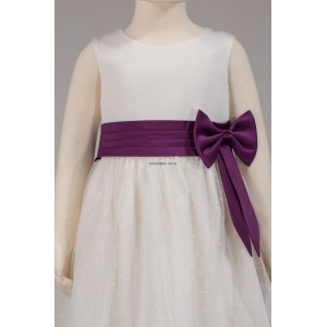 Girls Bridesmaid Party Side Ivory-Cadbury Purple Bow Dress