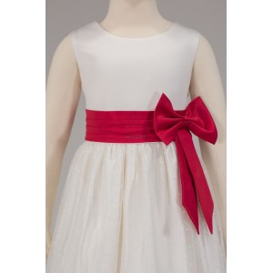 Girls Bridesmaid Party Side Ivory-Red Bow Dress