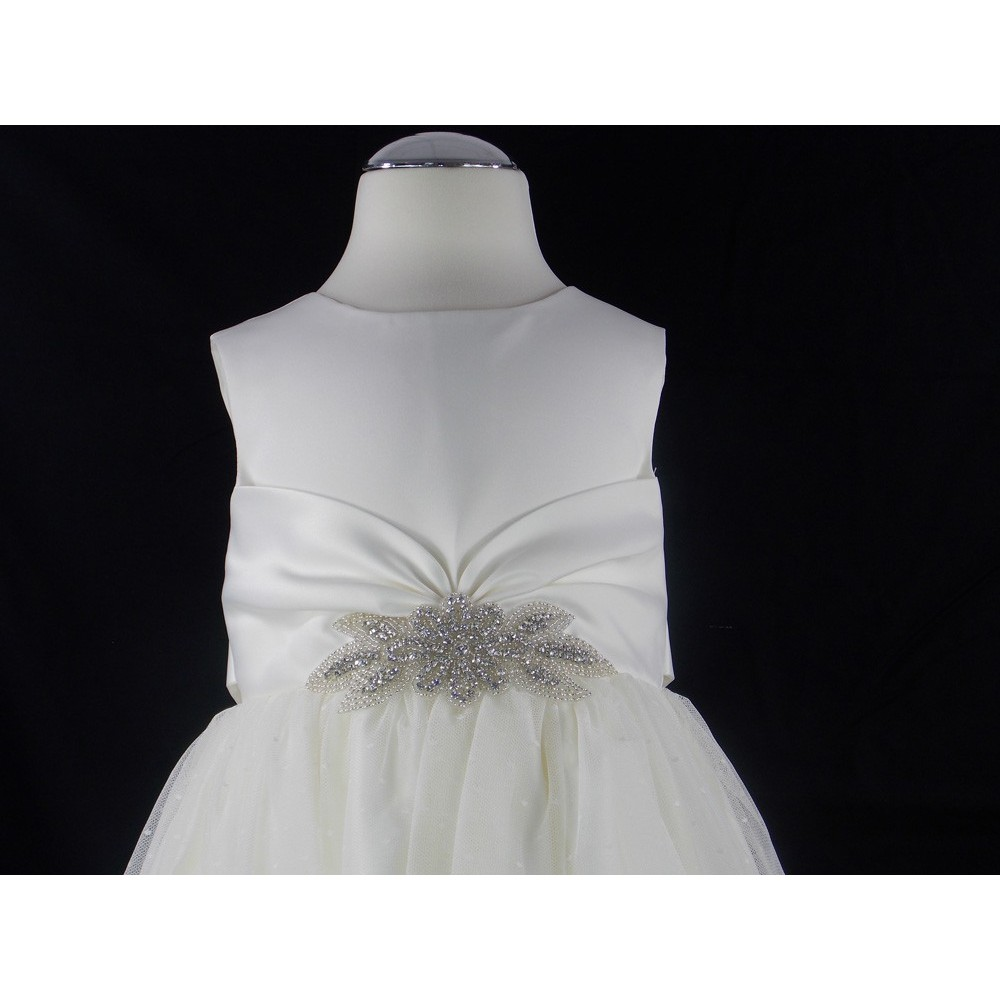 GIRLS IVORY DRESS WITH ROSEBUD AND DIAMANTE DETAIL BABY CHRISTENING OUTFIT NEW
