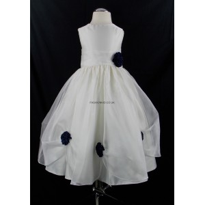 Girls Bridesmaid Party Navy Blue Corsage Dress