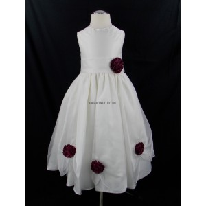 Girls Bridesmaid Party Wine Corsage Dress