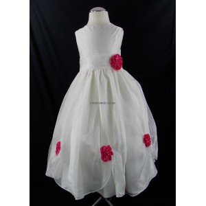 Girls Bridesmaid Party Fushia Pink Corsage Dress