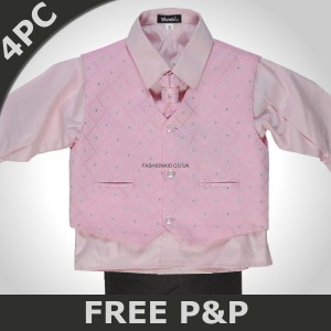Boys 4 Piece Pink & Black Suit