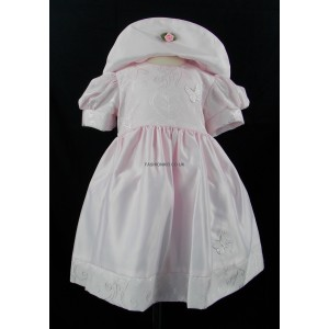 Baby 2 Piece Patterned Pink Butterfly Dress and Hat