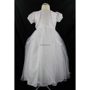 Girls White Tulle Communion Dress