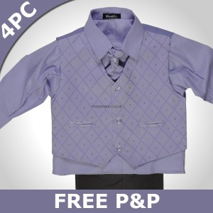 Boys 4 Piece Lilac & Black Suit