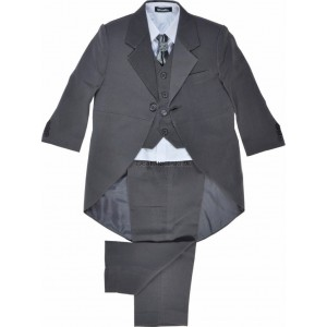 Boys 5 Piece Grey Tail Coat Suit