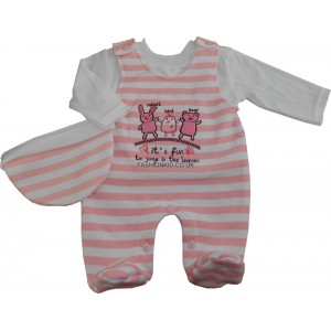 Pink Stripe Play/Sleep Suit - 3 Piece Set