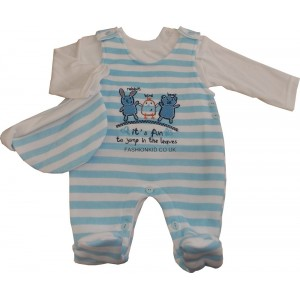 Blue Stripe Play/Sleep Suit - 3 Piece Set