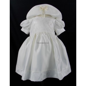 Baby 2 Piece Patterned Cream Butterfly Dress and Hat