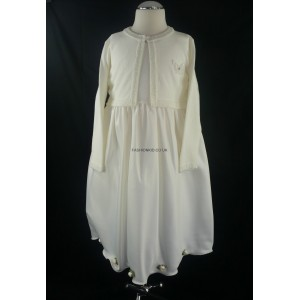 Cream Girls Dress with Matching Long Sleeved Soft Cardigan