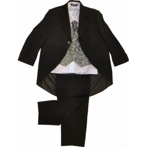 5 Piece Silver Paisley & Black Tail Coat Suit