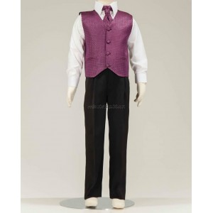 4 Piece Black Suit With Wine Diamond Pattern Waistcoat & Cravat